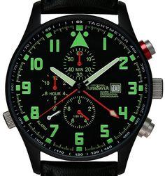 Astroavia P4BL - Reloj cronógrafo de cuarzo, PVD negro plateado