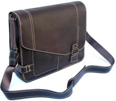 Genuine Brown Leather Laptop Messenger Bag Crossover Briefcase Shoulder Bag Rustic: Amazon.co.uk: Luggage Was £189.99 Now £89.99