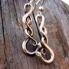 Silver Snake Drop Earrings Handmade in Sterling Silver Eco Friendly via Etsy