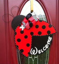 Lady Bug Door Hanger, Spring Door Hanger, Welcome Door Hanger,Lady Bug, Welcome Door sign, Welcome Y'all, Southern Door Hanger, Summer Decor