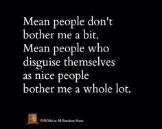 """Mean people """"DO"""" bother me!  Mean people who disguise themselves as nice people bother me """"A LOT""""!"""