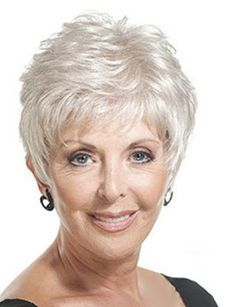 Fluffy Wavy Silvery White Capless Fashion Short Side Bang Synthetic Wig For Elder Women