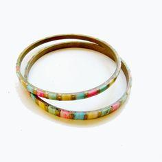 Vintage Enamel Chip Bangle Bracelets Inlaid by SunStateVintage