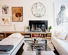 Home Design and Decor , Decorating With Fashionable Zebra Rug : Living Room With Sofa And Bench And Glass Top Coffee Table And Fireplace And Zebra Rug Eclectic Living Room, My Living Room, Home And Living, Living Room Designs, Living Spaces, City Living, Modern Living, Simple Living, Lustre Grande