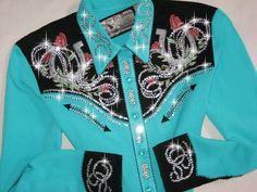Just Fly Designs Bling Turquoise and Black Horseshoes Rodeo Queen Rodeo Shirt