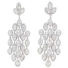 Grand Diamond Chandelier Earrings carats of white brilliant round, pear shaped and marquise cut diamonds set in white gold. Diamond Chandelier Earrings, Stone Earrings, Diamond Jewelry, Dangle Earrings, Antique Earrings, Fine Jewelry, Jewellery, Wedding Jewelry, Diamond Cuts