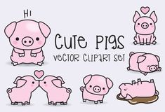 Premie Vector Clipart - Kawaii varkens - schattige varkens Clipart Set - hoge kwaliteit vectoren - Instant Download - Kawaii Clipart