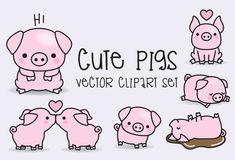 Premie Vector Clipart - Kawaii varkens - schattige varkens Clipart Set - hoge kwaliteit vectoren - Instant Download - Kawaii Clipart