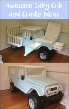 Check out these truck crib with changing table and more unique crib and cradle ideas! Baby Boy Rooms, Baby Cribs, Baby Room, Unique Cribs, Unique Toddler Beds, Crib With Changing Table, Jeep Baby, Cool Woodworking Projects, Baby Furniture