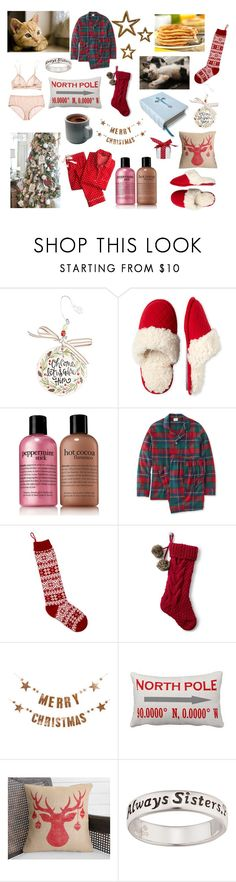 """""""Christmas Morning with Sister"""" by megancvms ❤ liked on Polyvore featuring Glory Haus, Dearfoams, philosophy, L.L.Bean, Bloomingdale's, Lands' End and Bloomingville"""
