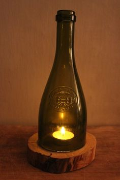 Beautiful wine bottle that has been hand cut by ConcreteCabinHome, $15.00