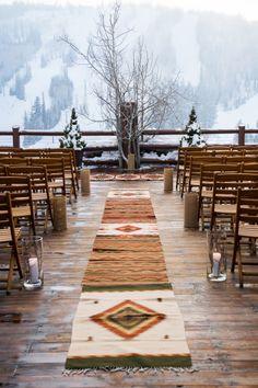 Southwestern winter ceremony: http://www.stylemepretty.com/utah-weddings/park-city/2014/12/22/snowy-mountain-winter-wedding/ | Photography: Cory Ryan - http://www.coryryan.com/