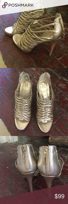 DVf gold gladiator sandals heel is 5 inches Size 9 DVf leather sandals Diane von Furstenberg Shoes Heels