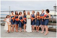 www.weddingrowcalifornia.com | Bruce Forrester Photography | Blue and Orange Bridesmaids