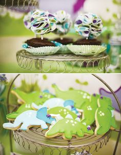 Darling Dino Girly Dinosaur Birthday Party - dinosaur cookies