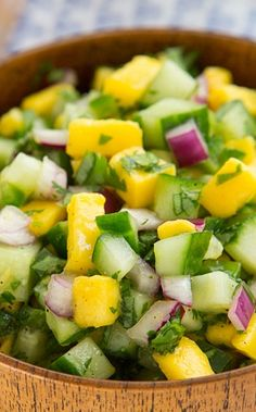 This Cucumber Mango Salsa recipe is vegan, easy, delicious, and refreshing. Make it with champagne mangoes if they're in season! Mexican Food Recipes, Vegetarian Recipes, Cooking Recipes, Healthy Recipes, Mexican Dishes, Mango Salsa Recipes, Mango Recipes For Dinner, Salsa Dips, Healthy Snacks