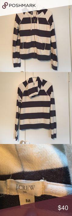 JCREW striped zip up hooded sweatshirt! JCREW navy and white zip up sweatshirt. Sweatshirt has tie string hoodie and pocket. Super comfortable on! Perfect sweatshirt for summer! J. Crew Tops Sweatshirts & Hoodies