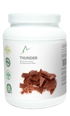 Thunder™ is a 24-Karat Chocolate meal replacement shake made with organic whey protein, vitamins, minerals, and a broad spectrum of probiotics, enzymes, and apple fiber. Thunder is low on the glycemic scale and is sweetened with the crystals of honey. Even at only 72 calories per serving, Thunder is the most delicious meal replacement shake you will ever experience! Mix with water or milk (dairy, coconut, rice, soy or almond). Add ice, fruit, nuts, or Pulse™ for a special treat.