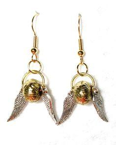 Golden Snitch Earrings. $10.00, via Etsy.