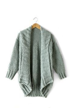 Cocoon Cardigan   This cardi is oversized, with a drop shoulder, cocoon shape - perfect to wrap up in for fall and winter! Knit in Bernat Roving, this intermediate pattern is worked in an Irish Moss stitch pattern.