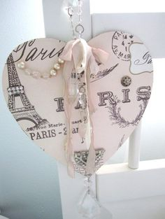 Shabby Wood and Paper Paris Collage.
