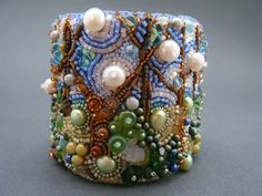 RESERVED FOR ANN Spring Bead Embroidery Cuff by crimsonfrog