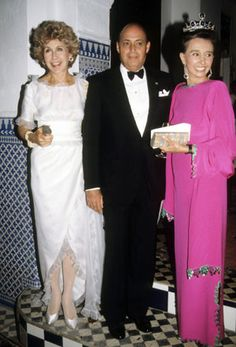 Betsy Bloomingdale, Reinaldo Herrera, and Aline, Countess of Romanones at Malcom Forbes' 70th birthday