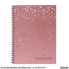 Rose Pink And Marsala Glitter Stars Notebook
