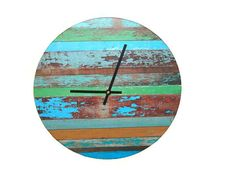 Rustic Wall Clock Chipped Paint Wood Wall Clock by makingtimetc