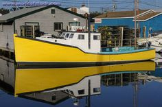 Stock Photo of Yellow Lobster Boat At Fishermans Cove Eastern Passage Halifax Nova Scotia - Yellow Lobster, Lobster Boat, Wood Boat Plans, Mellow Yellow, Color Yellow, Atlantic Canada, Vintage Boats, Yacht Boat, Prince Edward Island