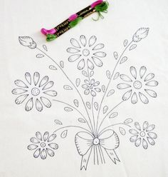 FREE SHIPPING - Floral Bouquet pattern, diy embroidery kit, embroidered napkin, printed fabric, needlework design