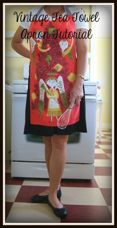 Make an apron from a vintage tea towel by Black Fox Homestead