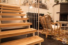 Wooden plank staircase made from solid birch, with white metal handrails. Designed and made by Puuartisti, Finland. Metal Handrails, Wooden Staircases, Outdoor Furniture, Outdoor Decor, Plank, Finland, Birch, Solid Wood, Stairs