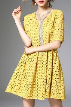 Yellow V Neck A-line Pierced Short Sleeve Midi Dress bcc9b8e13