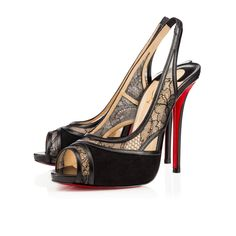 Znouba 120mm Black Dentelle- Christian Louboutin