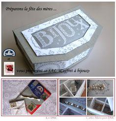 SAL boite a bijoux sur le blog DMC. Cartonnage Carton Marie.