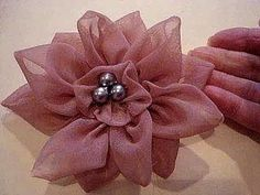 COUTURE FLOWER, How to diy, 12 petal flower, fabric flower, accessories, brooch, headband, barrette - YouTube