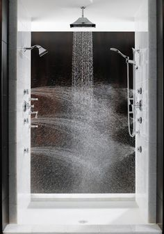 """Multiple shower heads from all directions is the best way to stay warm in the shower. """"Total Escape"""" shower from Brizo. This is my dream shower! Dream Bathrooms, Beautiful Bathrooms, Bathroom Modern, Bathroom Interior, Small Bathroom, Luxury Bathrooms, Multiple Shower Heads, Double Shower Heads, Dream Shower"""