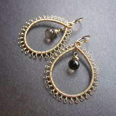 Kashmir 25 Whiskey quartz filigree drop hoop earrings on Etsy