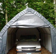 The ShelterLogic x x Instant Garage is designed to fit most SUVs and pick-up trucks on the road today, with an door to allow for cargo boxes to be stored on top of vehicle as well. Home Workshop, Garage Workshop, Instant Garage, Fall Clean Up, Pony Wall, Roll Up Doors, Suv Trucks, Door Kits, Outdoor Gear