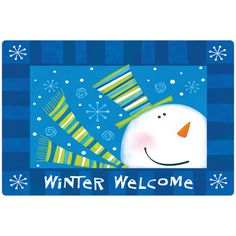 @Overstock.com - Indoor Comfort Winter Welcome Cushion Mat - Embrace the magic of the holidays with this bright indoor mat.  The surface is soft with short nylon velvet fibers and the neoprene backing keeps the mat in place.  http://www.overstock.com/Home-Garden/Indoor-Comfort-Winter-Welcome-Cushion-Mat/7522001/product.html?CID=214117 $27.09