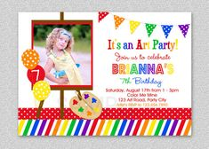 Art Birthday Party Invitation Rainbow Art Invitation Chalkboard or white Rainbow Party Invitations, 1st Birthday Invitations, Photo Invitations, Invitations Kids, Invitation Layout, Invitation Templates, Invitation Ideas, Printable Invitations, Sunshine Birthday Parties
