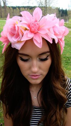 Mermaid Pink Flower Crown Lana Del Rey Inspired by TheBohipstian, $12.00