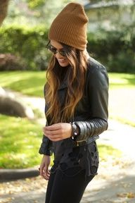 Leather Jacket Chic.    (I want to be able to pull a beanie off.)