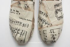 Adult Custom Painted TOMS Shoes - Musical Notes with Ode to Joy by Beethoven on Etsy, $110.00