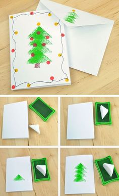 Sponge Stamped Christmas Tree Card | Click for 20 DIY Christmas Card Ideas for Families | DIY Christmas Cards for Kids to Make