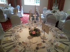 Crystal Candelabra table centrepiece and flower wreath, by Lily King Weddings