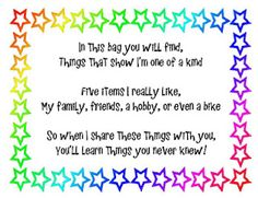 """Attach this poem to a paper bag --- This """"Me Bag"""" is for the beginning of the year. It's great to build a classroom community and to get to know your kiddos."""