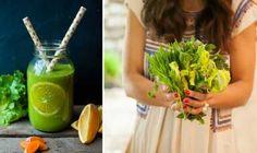 2er Collage: links Detox Smoothie mit Endivien und Kurkuma; rechts Carla hält eine Mischung aus Weizengras und Wildkräutern