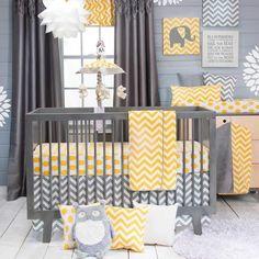Chevron Modern Gray AND Yellow Polka Dots Nursery Baby 3 Piece Crib Bedding.